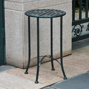 International Caravan Mandalay 16-inch Iron Patio Side Table; Verti Gris