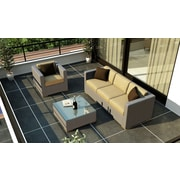 Harmonia Living Element 3 Piece Deep Seating Group w/ Cushion; Heather Beige