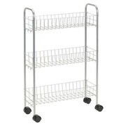 Household Essentials Slimline 3 Shelf Laundry Cart; Satin Silver
