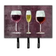 Caroline's Treasures 3 Glasses of Wine Purple Leash Holder and Key Hook