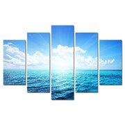 3 Panel Photo Clouds on the Water 5 Piece Photographic Print on Canvas Set