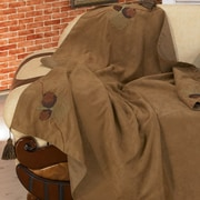 HiEnd Accents Black Pine Reversible Pine Cone Throw; Tan