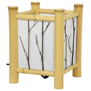 Oriental Furniture Watashi Japanese 8.5'' H Table Lamp with Square Shade; Light