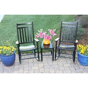 Dixie Seating 3 Piece Adult Slat Seat Porch Rocking Chair and Table Set; Black