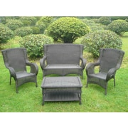 International Caravan San Tropez 4 Piece Lounge Seating Group with Cushions; Antique Black