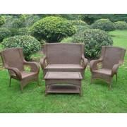 International Caravan San Tropez 4 Piece Lounge Seating Group with Cushions; Mocha