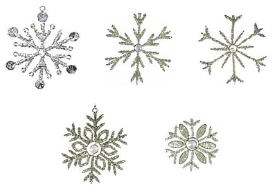 Golden Hill Studio Christmas 5 Piece Beaded Glass Snowflakes Christmas Ornament Set WYF078277167988
