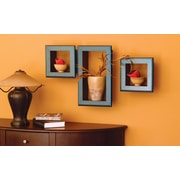 nexxt Design Cubbi Framed 3 Piece Wall Shelf Set; Black