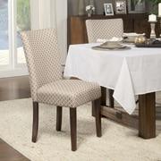 HomePop Traditional Parsons Chair (Set of 2); Fabric - Mocha / Cream Quatrefoil Diamond