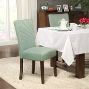 HomePop Traditional Parsons Chair (Set of 2); Fabric - Aqua / Cream White Quatrefoil Diamond