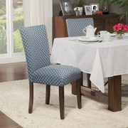 HomePop Traditional Parsons Chair (Set of 2); Fabric - Blue / Cream White Quatrefoil Diamond