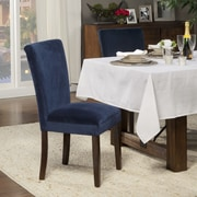 HomePop Traditional Parsons Chair (Set of 2); Velvet - Ink Navy Plush