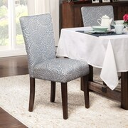 HomePop Traditional Parsons Chair (Set of 2); Fabric - Navy / Cream Floral