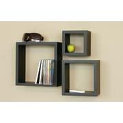 nexxt Design Cubbi 3 Piece Wall Shelf Set; Black