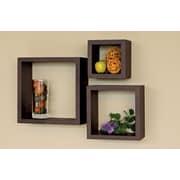 nexxt Design Cubbi 3 Piece Wall Shelf Set; Espresso