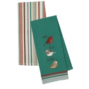 Design Imports 2 Piece Embroidered Birds Of a Feather & Flutter Stripe Dishtowel Set