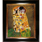 Wildon Home   The Kiss (Fullview) Canvas Art by Gustav Klimt Modern - 35'' X 31'' in Opulent Frame