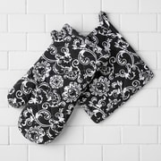 Linen Tablecloth Floral Damask Oven Mitt and Potholder Set (Set of 2)