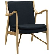 Modway Makeshift Upholstered Lounge Chair; Birch/Black