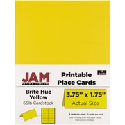 "JAM Paper Place Cards, Yellow, Brite Hue, 3.75"" x 1.75"", 12/Pack (225928558)"