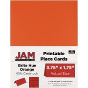 JAM Paper® Printable Place Cards, 1.75 x 3.75, Brite Hue Orange Placecards, 12/pack (225928559)