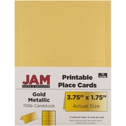"""JAM Paper Place Cards, Gold, Metallic, 3.75"""" x 1.75"""", 12/Pack (225928571)"""