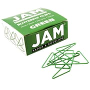 JAM Paper® Butterfly Paper Clips, Green Paperclips, 15/pack (332BYGR)
