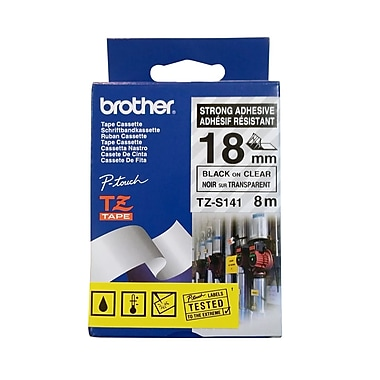 Brother TZS141 Laminated Label Tape, 18mm, Black on Clear