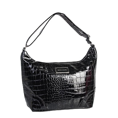 Simon Chang Ladies Faux Leather Croco Print Cooler Bag, Black