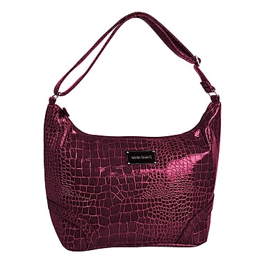 Simon Chang Ladies Faux Leather Croco Print Cooler Bags, Berry