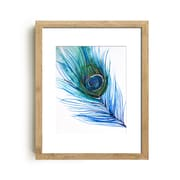 Mai Autumn ''Peacock Feather'' by Christine Lindstrom Framed Painting Print; 20'' H x 16'' W