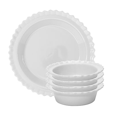 Chantal 5 Piece Pie Set; Glossy White