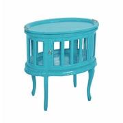 Jeffan Tahoma Oval End Table; Sky Blue