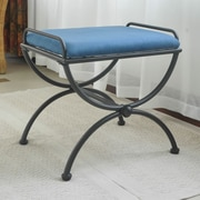 International Caravan Cambridge Contemporary Iron Vanity Stool; Indigo