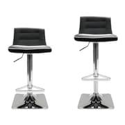 BestMasterFurniture Adjustable Height Swivel Bar Stool Set with Cushion (Set of 2); Black / White