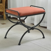 International Caravan Cambridge Contemporary Iron Vanity Stool; Terra Cotta