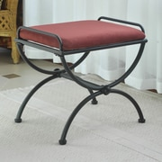 International Caravan Cambridge Contemporary Iron Vanity Stool; Red Wine