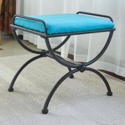 International Caravan Cambridge Contemporary Iron Vanity Stool; Aqua Blue