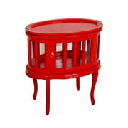 Jeffan Tahoma Oval End Table; Red