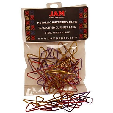 JAM Paper® Butterfly Paper Clips, Assorted Paperclips, 15/pack (2210016349)