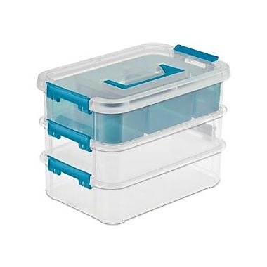 Sterilite – Boîtes de rangement empilable, 7 5/8 po x 10 5/8 po x 7 1/4 po, transparent/bleu