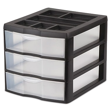 Sterilite Medium 3-Drawer Desktop Organizer, Black/Clear Drawers