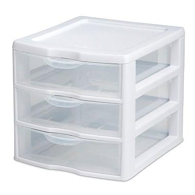 Sterilite – Unité de bureau à 3 tiroirs, petite, blanche/tiroirs transparents