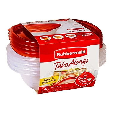 Rubbermaid® Take Alongs Square Food Containers, Red, 4/Pack