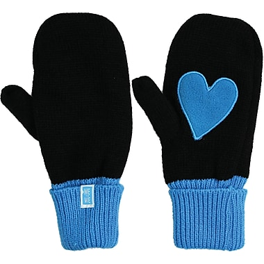 Me To We Mittens, Heart, Blue/Black