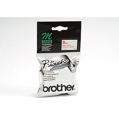 Brother MK222 Non-Laminated Label Tape, 9mm, Red on White