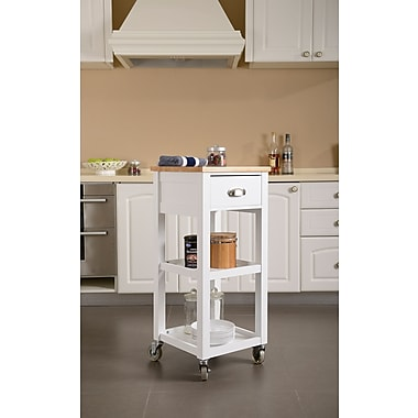 Homestar Kitchen Island Cart, White