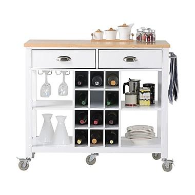 Homestar Wide Kitchen Island Cart, White