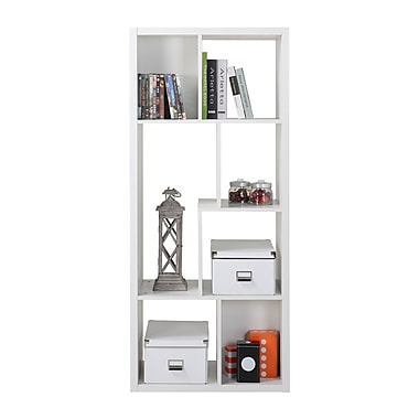 Homestar 7-Compartment Shelving Bookshelf, White