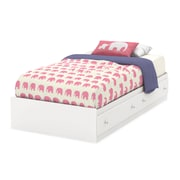 South Shore Litchi Twin Mates Bed (39''), Pure White